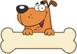 Cartoon Dog Over Bone Banner