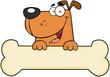 Cartoon Dog Over Bone Banner