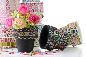 Rose and mosaic flower pot.  I made myself mosaic flower pot.
