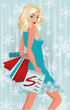 Winter shopping blonde girl, vector illustration