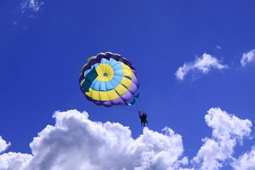Parachute tandem against the blue sky