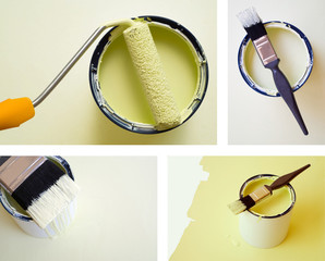 Collage combination DIY home improvement paint