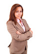 Portrait of a happy young business woman smiling - isolated on w