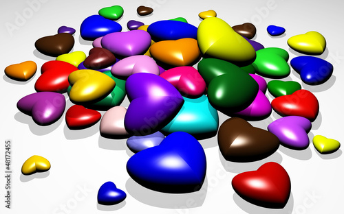 3D Hearts Colors Candies-Caramelle Cuori Colorati
