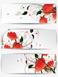 Set of abstract cards with flowers and floral elements