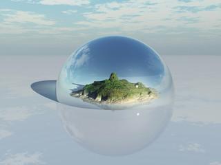 paisaje montañoso dentro de una cúpula de cristal