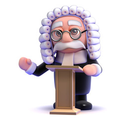 Judge stands at the lectern