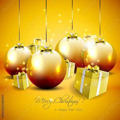 Elegant gold Christmas background with baubles and gifts