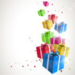 Modern birthday background with flying colorful gifts