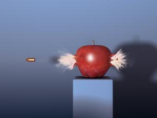 Manzana siendo atravesada por una bala