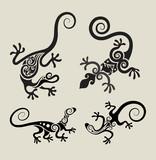 Lizard floral ornament symbol vector set