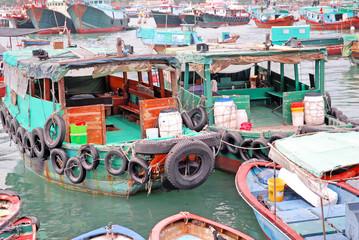 Hong Kong Cheung Chau crowded fishing harbor