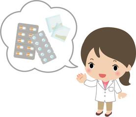 飲み薬の説明をする薬剤師
