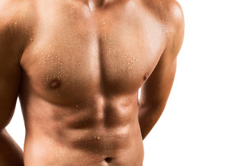 Attractive male torso closeup isolated on white background