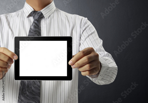 touch- tablet in hands