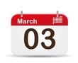 3 of March calendar. - 48176026