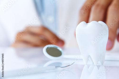 Leinwanddruck Bild dentist holding molar,dental concept