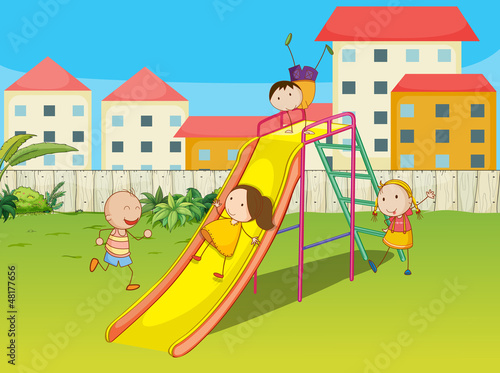 Kids playing on a slide