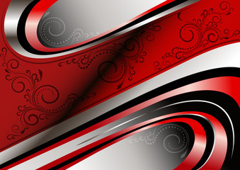 Red and silver curves and patterns on red wavy frame