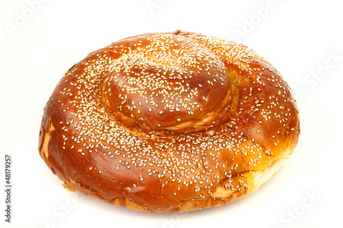 Fotobehang Brood Round sabbath challah with many white seeds