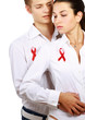 Couple with red AIDS isolated on white background