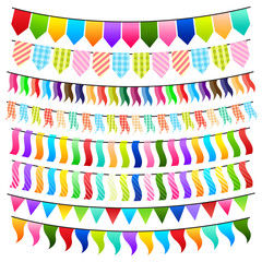 vector illustration of collection of colorful and bright bunting