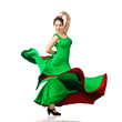 Beautiful young woman dancing flamenco