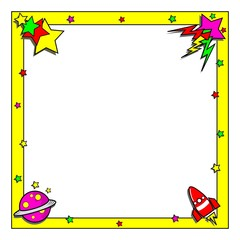 Cartoon space theme border frame with copy space