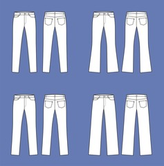Vector illustration of women's jeans. Different silhouettes