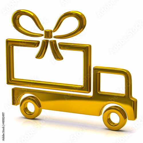 Golden truck and big gift