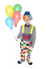 Glücklicher Clown mit Luftballons