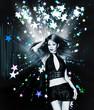 Dancing girl on stars background
