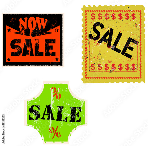 set of sale stickers, adhesive labels, vector illustration