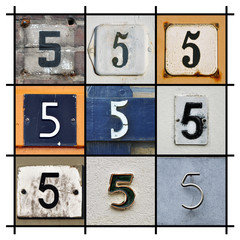 Collage of House Numbers Five