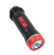 A black and red rechargeable flashlight