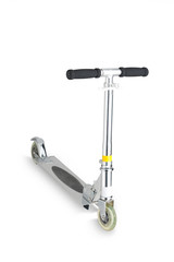 A metal scooter for child on white background