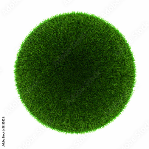 Green grass ball. Isolated on white.