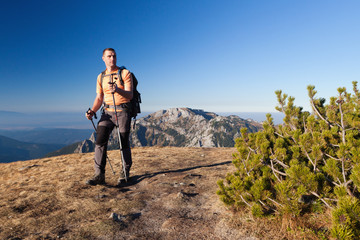 Adult hiker at Ornak Peak, Tatra Mountains, Poland