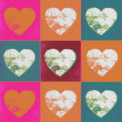 Colorful painted valentine hearts