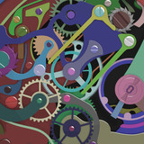 colorful clockwork composition
