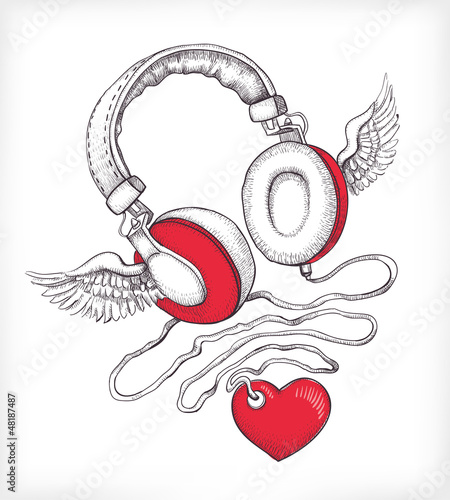 Headphones with wings and heart © Aleksandra Smirnova