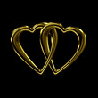 Linked golden hearts