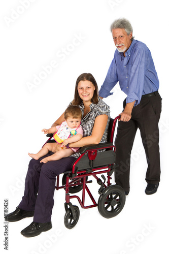 Smiling female patient in a wheelchair