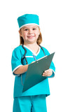 Cute kid girl uniformed as doctor over white background