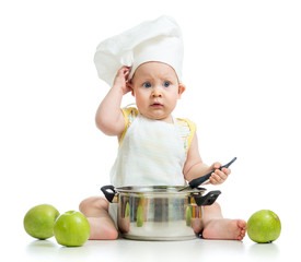 funny adorable baby with green apples isolated on white backgrou