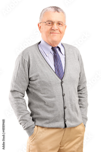 Full length portrait of a happy gentleman posing