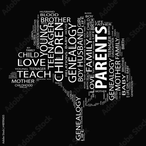 Conceptual white text wordcloud or tagcloud as a tree isolated