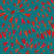 Bright seamless pattern with red flowers