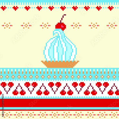 Seamless border illustration with cake and cherries