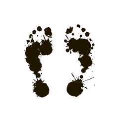 Black prints of a human foot . Vector illustration